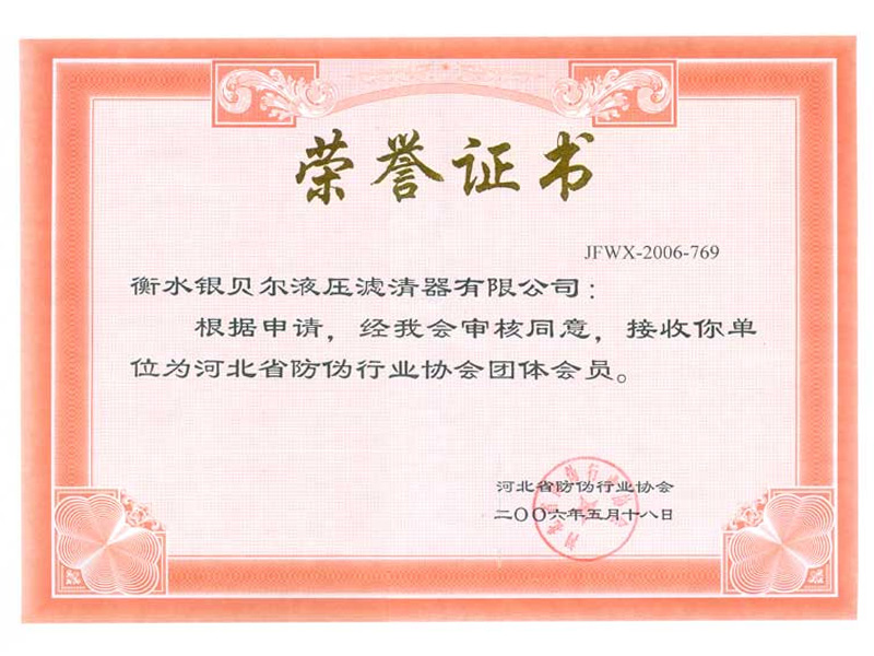 Anti-counterfeiting Association Honorary Certificate